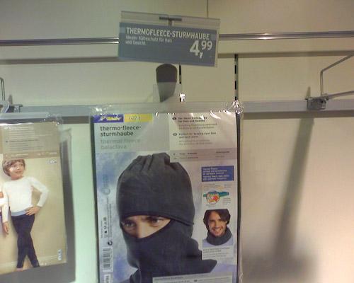 Jetzt neu bei Tchibo: Die Terroristen-Grundausstattung für 4,99 Euro. Jede Woche eine neue Welt.