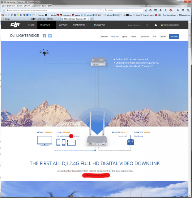 Screenshot: DJI Website zur Lightbridge (21.02.2015)