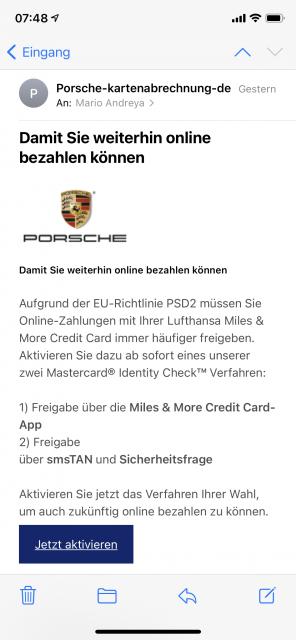 Wer kennt sie nicht. Die Porsche Mastercard Miles & More